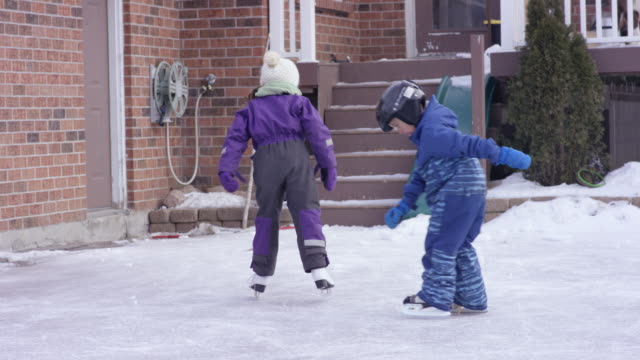 skating after freezing rain - winter sport stock videos and b-roll footage