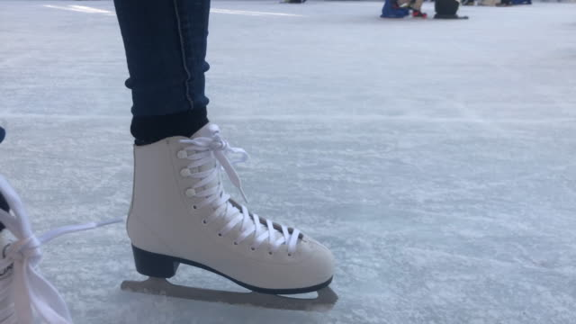 skating on artificial ice - winter sport stock videos & royalty-free footage