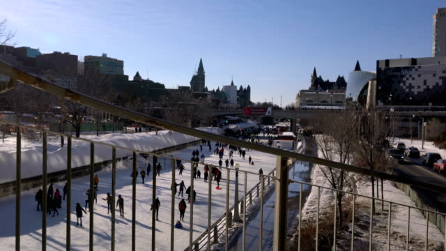 skating on the rideau canal during winterlude in ottawa, canada. - ottawa stock videos and b-roll footage