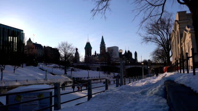 skating on the rideau canal during winterlude in ottawa, canada. - rideau canal stock videos & royalty-free footage