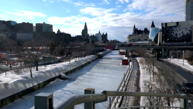 skating on the rideau canal during winterlude in ottawa, canada. - canal stock videos & royalty-free footage