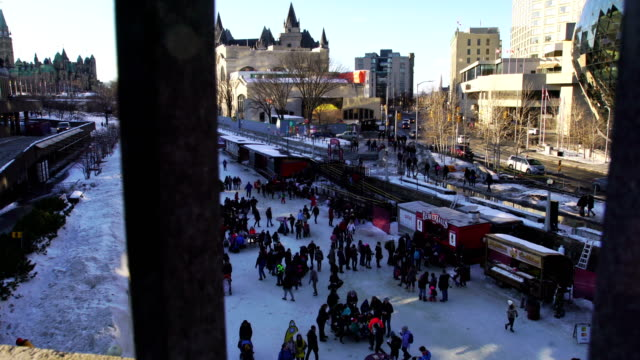 skating on the rideau canal in ottawa, canada. - ottawa stock videos and b-roll footage