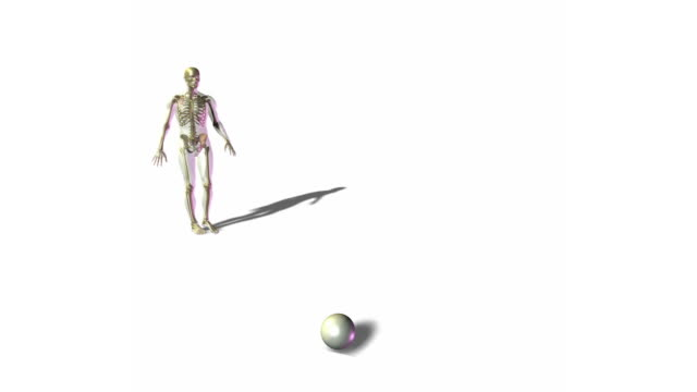 Skeletal person kicking soccer ball