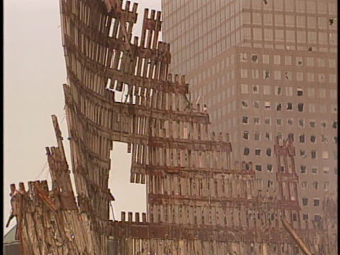 skeleton of the world trade center stands at ground zero in manhattan, new york. - 2001 stock videos & royalty-free footage