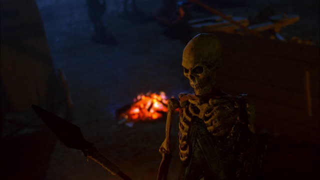 skeleton puppet in battlefield at night - battle stock videos & royalty-free footage