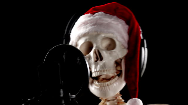 Skeleton Santa Claus singer