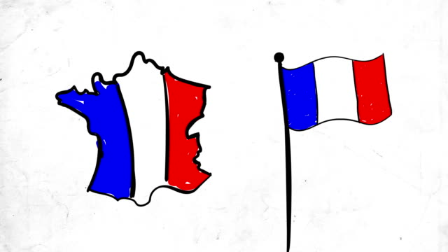 sketch animation for france map and flag - french culture stock videos & royalty-free footage