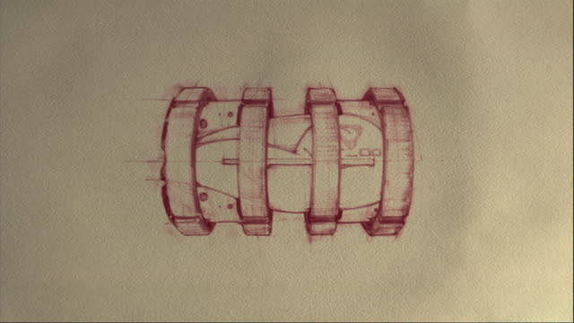 vídeos y material grabado en eventos de stock de a sketch turns into a 3d model of a rocket-like vehicle. - plano documento