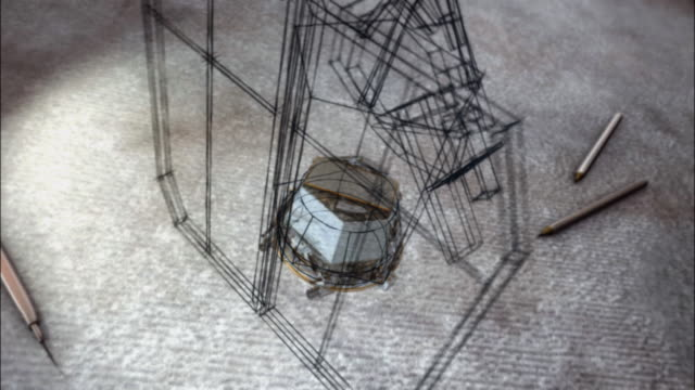 vidéos et rushes de a sketch turns into a computer animation of a space probe. - croquis