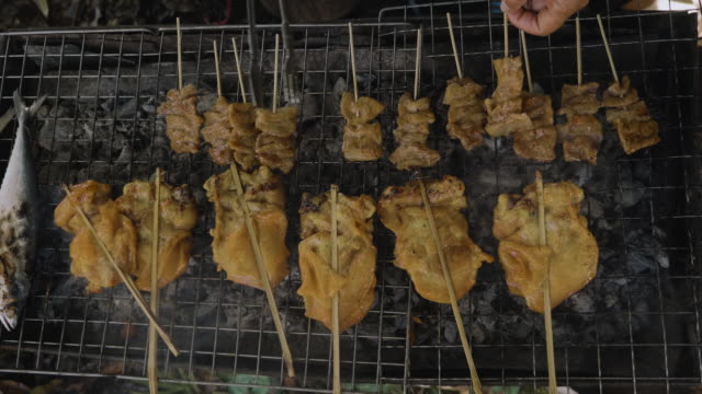 skewer chicken pieces roasting on the grill and smoke - skewer stock videos & royalty-free footage