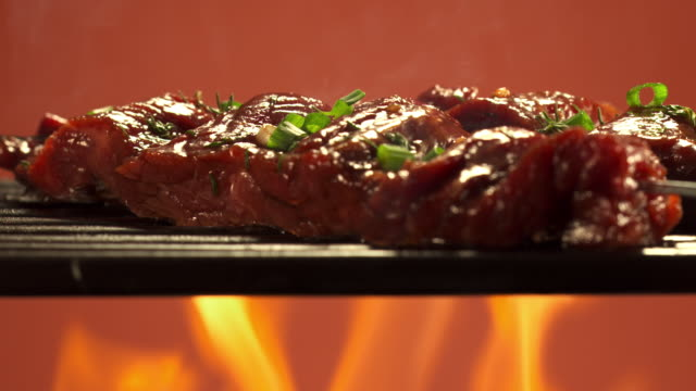 MS Skewer with cubes of marinated beef being grilled / Los Angeles, California, United States