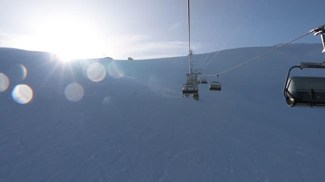 Ski stoeltjeslift bestijgt skipiste, wintersneeuw