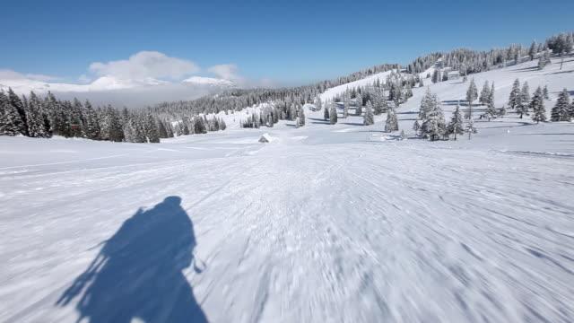 vídeos y material grabado en eventos de stock de hd: esquí de descenso en esquís - nieve en polvo
