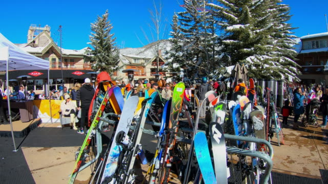 ski holder, ski rack at a restaurant in aspen, colorado - rack stock videos & royalty-free footage