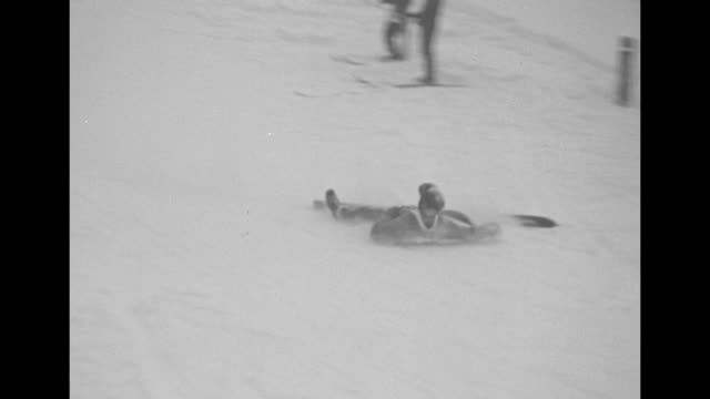 ski jump competition in lake placid new york / 4 skiers jump and 3 fall / note exact day not known - lake placid town stock videos and b-roll footage