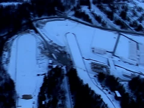 ski jump in planica from air - ski jumping stock videos and b-roll footage