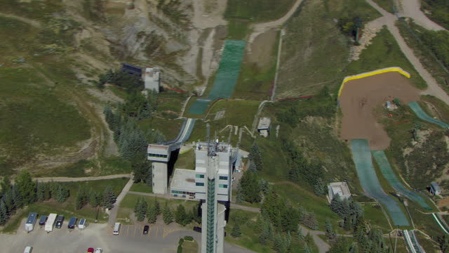 ski jumping facility in calgary canada - ski jumping stock videos and b-roll footage