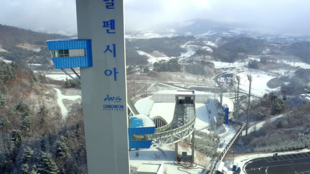 ski jumping hill at alpensia resort / pyeongchang-gun, gangwon-do, south korea - ski resort stock videos & royalty-free footage