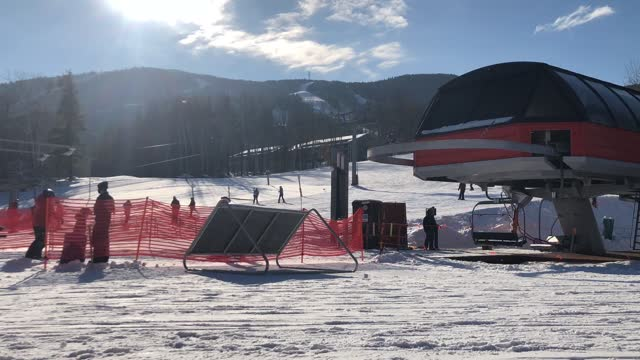 ski lift and ski resort footage with crowd of people at sunday river resort in bethel, maine usa - ski lift stock videos & royalty-free footage