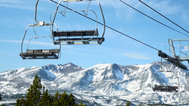 ski lift and snowy mountain. - ski lift stock videos & royalty-free footage