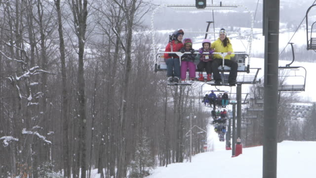 ski lift family ski resort weekend amateur winter sport - ski lift stock videos & royalty-free footage