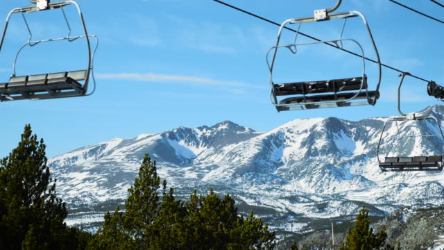 ski lift in winter. - saturated color stock videos and b-roll footage