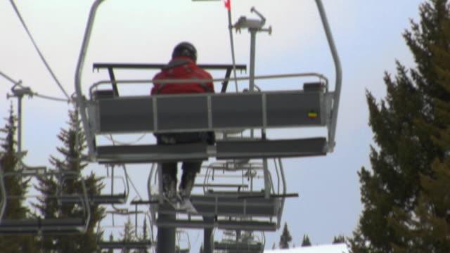 POV, Ski lift moving up hill, Whitefish, Montana, USA