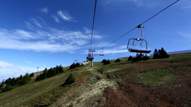 ski lift on the mountain - ski lift point of view stock videos & royalty-free footage