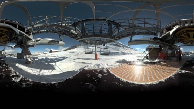 Ski lift ride in Montagne France