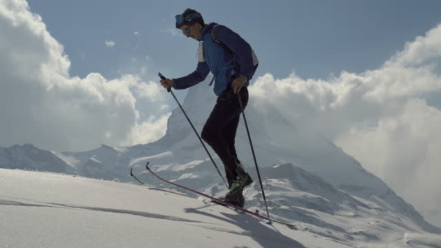 ski mountaineering in swiss alps - ski holiday stock videos & royalty-free footage