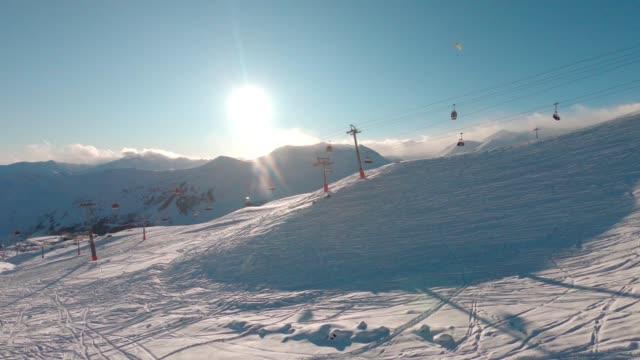 ski resort aerial - ski slope stock videos & royalty-free footage
