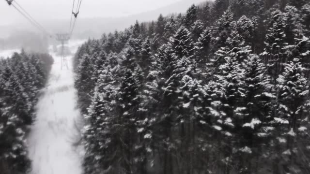 ski resort view from cable car with beautiful landscape snow hill  winter season in japan - hill stock videos & royalty-free footage