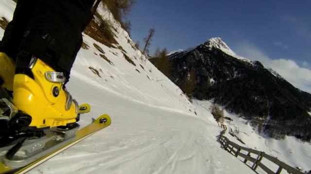 POV Ski Ride in High Mountain Landscape