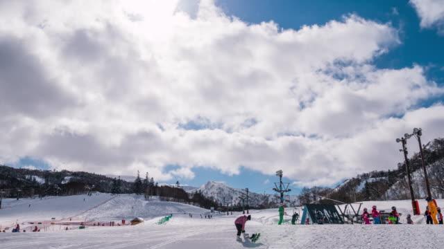 ski slopes at winter - alpine skiing stock videos & royalty-free footage