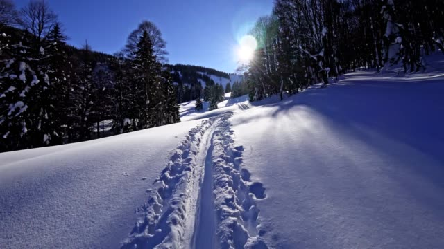 pov: ski touring in the austrian alps - wearable camera stock videos & royalty-free footage
