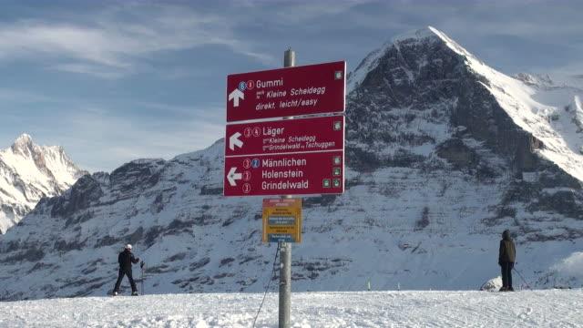 vídeos y material grabado en eventos de stock de ws skier at mannlichen / grindelwald, bernese oberland, switzerland - vacaciones en la nieve
