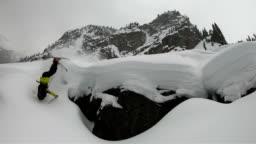 Skier crashing in slow motion