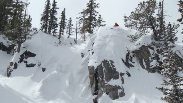 WS TU TD ZO SLO MO Skier jump off cliff and landing in powdery snow / Alta, Snowbird, Utah, USA