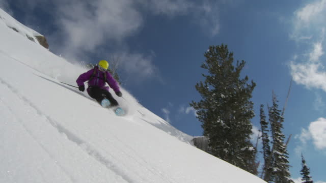 SLO MO WS PAN Skier moving down in powdery snow / Alta, Snowbird, Utah, USA