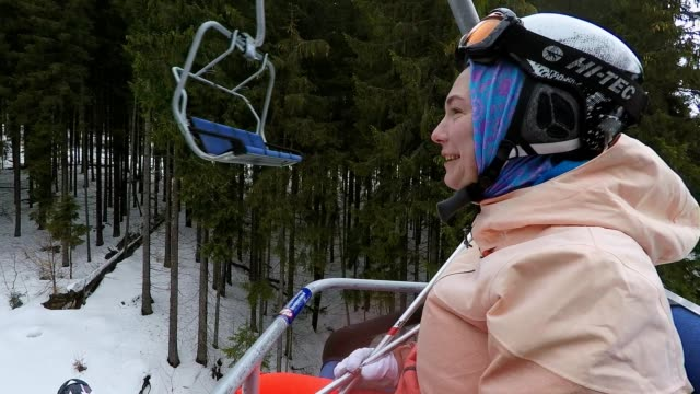 A skier on a ski lift.