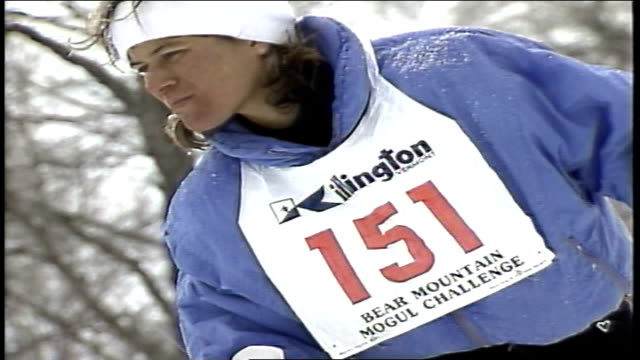 cu skier preparing to go down hill then falling at start in killington vermont - 1980 1989 stock videos & royalty-free footage