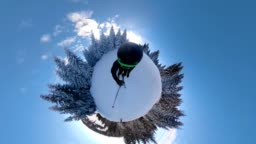 Skier riding in a 360 degree view on a snowy mountain
