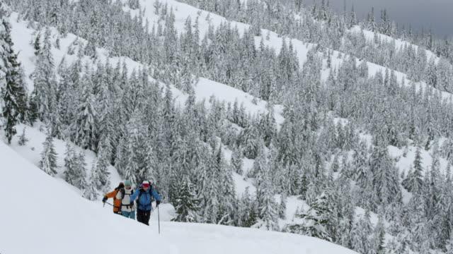 ws skier ski touring up ridge / squamish, bc, canada - squamish stock videos & royalty-free footage