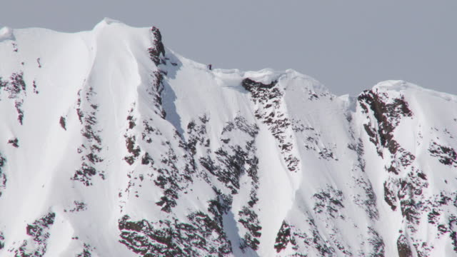 ws td zo skier skiing from peak of mountain / alta, snowbird, utah, usa - ユタ州 アルタ点の映像素材/bロール