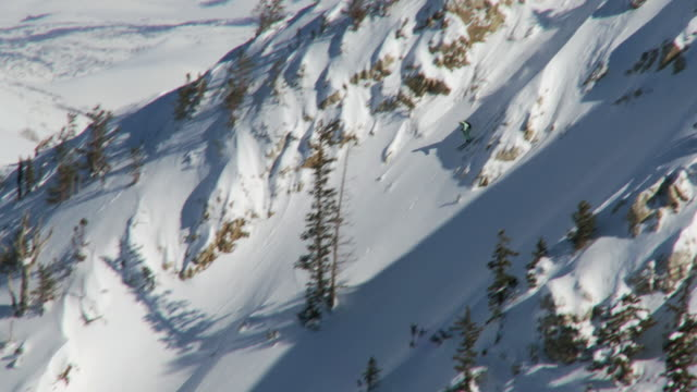 ws td skier skiing in powdery snow / alta, snowbird, utah, usa - ユタ州 アルタ点の映像素材/bロール