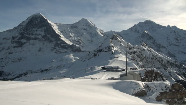 WS Skiers and hikers at mannlichen / Grindelwald, Bernese Oberland, Switzerland