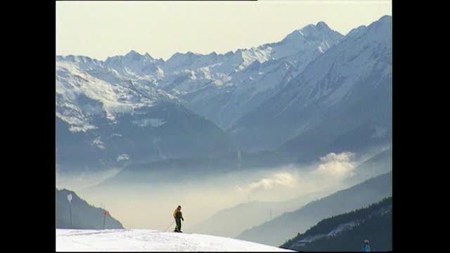 skiers on mountains courmayeur ski resort, italy; 1993 - ski lift stock videos & royalty-free footage