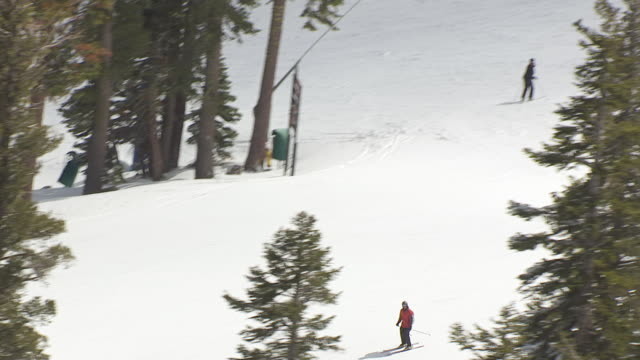 MS TS AERIAL POV skiers on ski slope in northern Sierra Nevada / California, United States