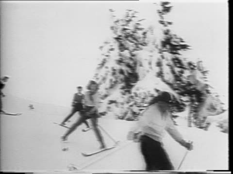 skiers outside timberline lodge in mt hood or / crowd of skiers at the top of a hill / montage of a man teaching a group of women in a ski class /... - mt hood stock videos & royalty-free footage