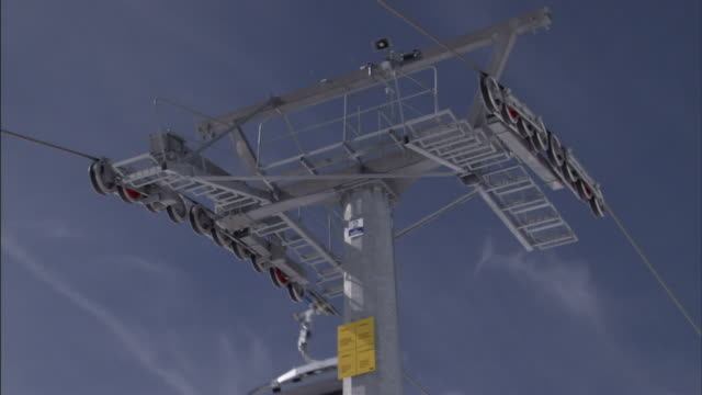 skiers ride ski lifts. - ski lift stock videos & royalty-free footage